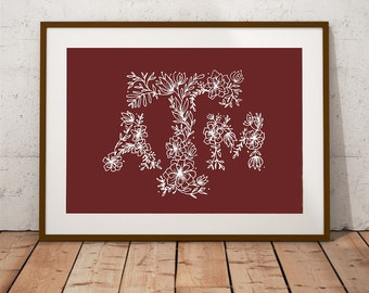 Texas A&M Floral Print, Texas Aggies Art, Floral Typography Print, Floral Illustration, Texas Home Decor,