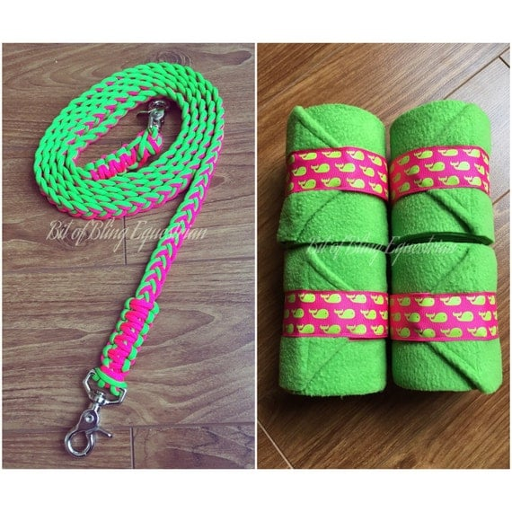 Electric Melon and Whales Reins and Wraps Set - Hot Pink and Lime Green