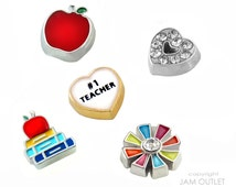 TEACHER THANK YOU Charm(s) Set  - You Choose 1 - 5 School Graduation Floating Charms -  Fits all Living Memory Origami Lockets