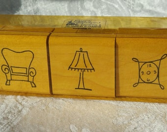 Set of three furniture Rubber Stamp set, Simply Stamped clock stamp, chair stamp, lamp stamp, Home rubber stamp house stamps scrapbook stamp