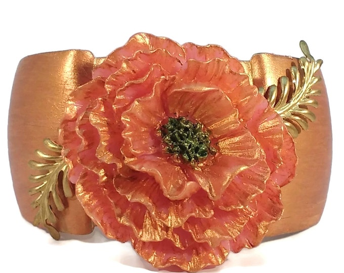 Hand Painted Handmade Adjustable Cuff Bracelet with Pink & Gold Carnation Flower Rose Gold Orange Coral Color OOA...