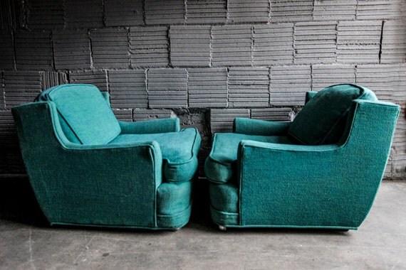 Vintage Green Kroehler Chair Pair
