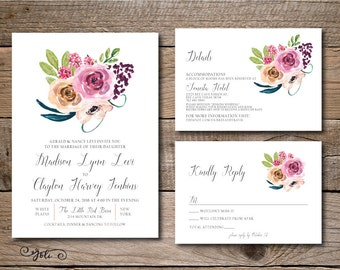 Printable Watercolor Bouquet Wedding Invitation and RSVP Suite Set - Print Yourself - Digital Invite