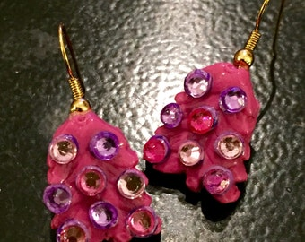 Pink Sparkly Christmas Tree Dangle Earrings