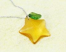 Paopu Fruit Necklace, Kawaii Friendship Necklace, Crystal Sea Star Necklace, Paopu Fruit Keychain, Kairi Necklace, Geekery Jewelry