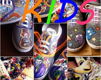 KIDS Personalized handpainted shoes, custom sneakers with theme you choose
