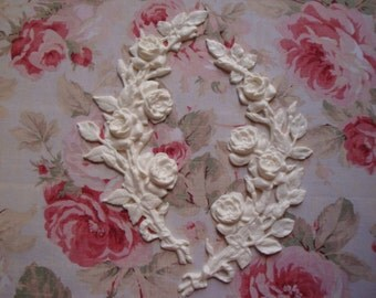 New Shabby and Chic Rose Branch/Stem L-R Pair Furniture Applique Architectural Pediment Onlay