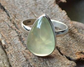 Prehnite Gemstone Ring, Prehnite and 925 Sterling Silver, Bezel Prehnite Ring, Simple Handmade Gift Ring ,Natural Prehnite Gemstone Ring