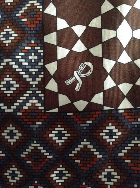 "ROBERTA di CAMERINO Vintage Silk Scarf 34"" Square Chocolate Brown"