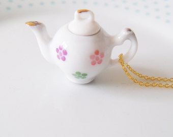 Pink Floral Teapot Tea 3D Charm Necklace Alice in Wonderland, Tea Party, Flower, Tea Pot