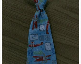 Boys necktie, Baby Necktie with Velcro closure, Airplane necktie
