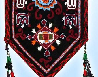fantastic unusual uzbek lakay silk hand-embroidered flag a7877