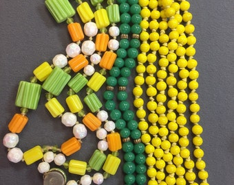 Three Green and Yellow Groovy Glass Bead Necklaces for Wear or Repurposing.  Free shipping