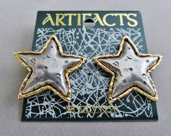 JJ Jonette Vintage Two Tone Embossed Star Pierced Earrings