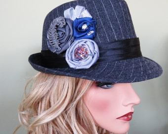 Handmade Stylish Grey Pinstripe Embellished Fedora Ladies Hat