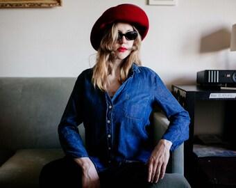 Womens Denim Indigo Button Up Long Sleeve Shirt Vintage