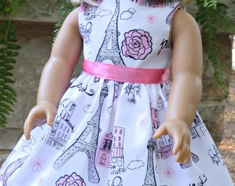 "Doll Clothes American made Doll Dress to Fit 18"" Girl Dolls - Paris Sparkle Eiffel Tower Ooh La La"