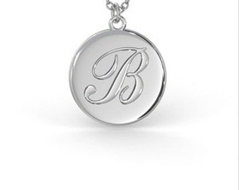 Initial Script Disc Pendant in Sterling Silver (1.0mm Thickness / 17.5 x 15.5mm in Height)