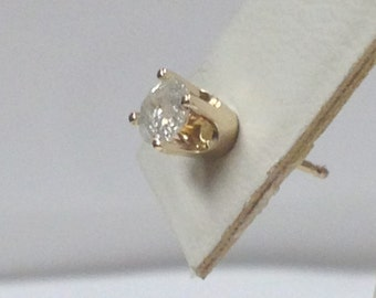Genuine Diamond One Stud Earring 14kt Yellow Gold