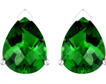 60810P Volcanic Forest Green Helenite Pear Sterling Silver Earrings – Free USA Shipping –