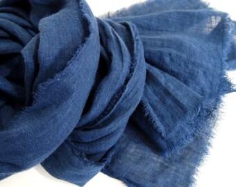 Indigo Blue Linen Scarf, Hand Dyed, Minimalist, Rustic Modern, Lightweight Unisex, Mens Scarf, European Linen, Made in USA, Blue Scarf