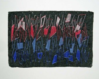 Embroidered Handmade Paper, Mixed Media, Fiber Art