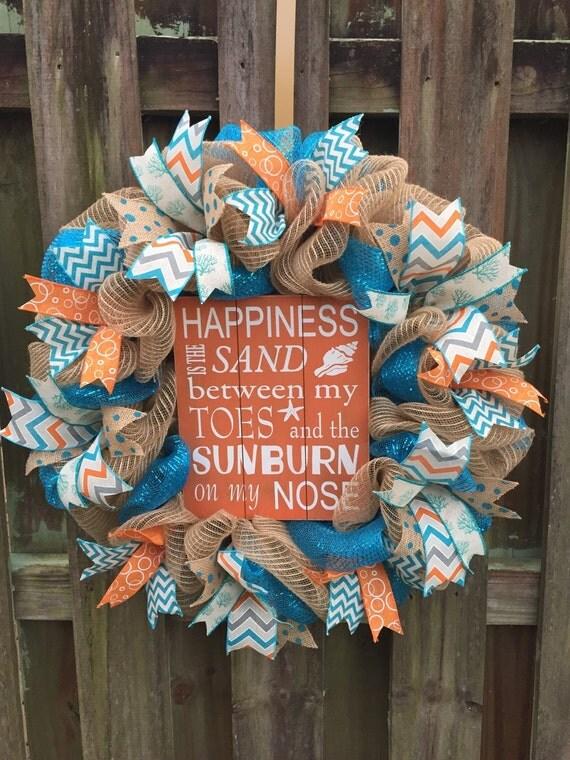 Beach Wreath Deco Mesh Wreath Double Door Wreath Welcome