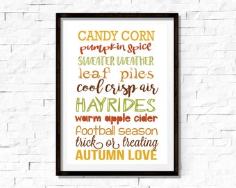Seasonal Wall Art - Autumn Love - 8x10 Sign - Instant Download