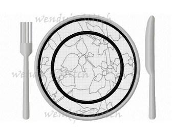 Dinner plate knife fork applique machine embroidery design instant download