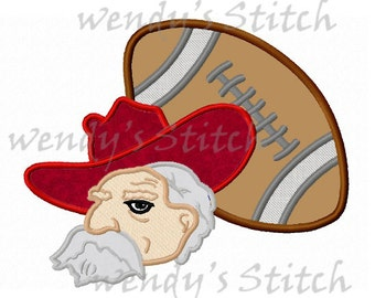 Ole miss colonel football applique machine embroidery design instant download