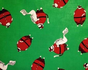 Mona Fabrics - SANTA'S LITTLE HELPERS on Green by Erin Michael - Fabric - Sock Monkey - Funky Monkey - Christmas - Santa - Kids - Quilting