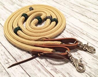 Tan Rope Reins with Green & Gray Button Braids, Loop Rope Reins, Horse Tack, Tan Horse Tack, Rope Reins, Tan Reins