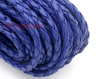 Royal Blue Round Braided Leather Cord, For Bracelet & Necklace  4mm