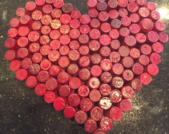 Recycled cork Valentine heart wall art