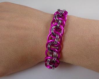 Pink Viper Basket Chainmail Bracelet; Fuschia Chain Mail Bracelet; Chainmaille Bracelet; Chain Maille Bracelet; Hot Pink Chainmail Bracelet