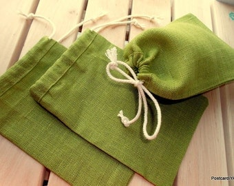 50 Bright Green Pouches Olive Linen Gift Small Bags Jewellery Bags