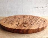 "Oak Wood Crystal Grid Altar Board with Hand Burned ""Flower of Life"" Sacred Geometry Pattern, Meditation Board"