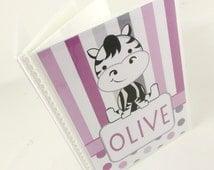Girl photo album purple zebra baby shower gift grandmas brag book personalized photo book  4x6 or 5x7 picture 475