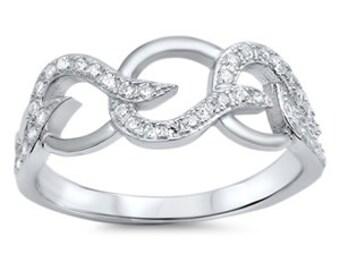 NEW 925 Sterling Silver Swirl Wavy CZ Ring