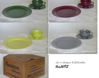 Vintage Hazel Atlas Moderntone Ovide Dinnerware Service for 8 Mint Condition NOS in Original Boxes at Lin's Antiques (Inventory #M1693)