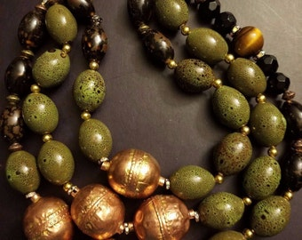 Olive Multi Strand Statement Necklace Bold Chunky Olivine Necklace Huge Copper Bead Necklace Autumn Fall Jewelry Redhead OOAK Art Dramatic