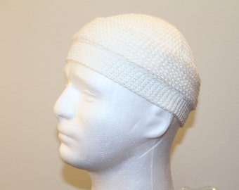 Hand stiched winter hat kufi white color