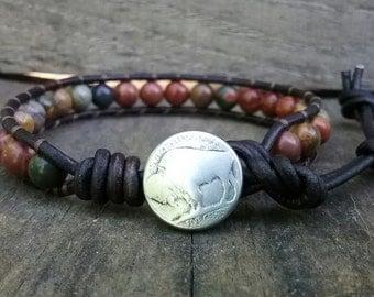 Beaded Leather Wrap Bracelet - Buffalo Head Nickel - Native American - Southwestern Jewelry - Boho Bracelet - Mens Beaded Bracelet