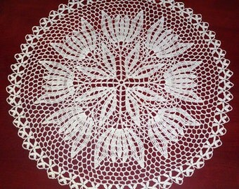 crochet doily 17,7 inches round doily lace doily white doily crochet tableclot