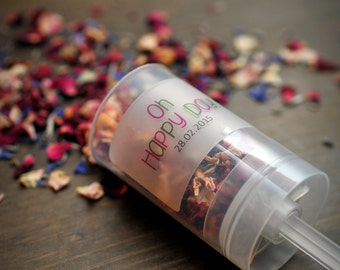 Wedding Confetti Poppers Push Pops Natural Dried Petals Biodegradable Set of 20