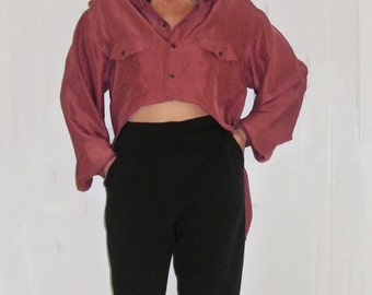 That So 90's Button Up Rose Silk Cropped Blouse