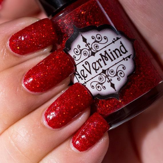 Crimson Nail Polish: Red Holographic Glitter Nail Polish / Crimson Holo Glitter
