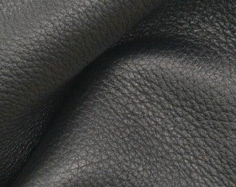 "Black with Brown Undertones Leather New Zealand Deer Hide 12"" x 12"" Pre-cut 4-5 ounces EL-41777 (Sec. 6,Shelf 6,D)"