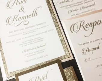 Blush and Gold Glitter Wedding Invitation - Glitter Wedding Invitations, Elegant Wedding Invitations, Formal Wedding Invitations, Glam