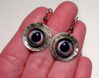 Brutalist Studio Chased Sterling Silver Glass TAXIDERMY EYE Eyeball Pierced Dangle Earrings
